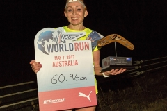 Winner Olesya Nurgalieva poses for a photograph during the Wings for Life World Run in Melbourne, Australia on May 7, 2017. // Gallant Lee for Wings for Life World Run // P-20170507-02876 // Usage for editorial use only // Please go to www.redbullcontentpool.com for further information. //
